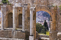 Taormina greek amphitheater in Sicily Italy Royalty Free Stock Images
