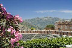 Taormina greek-roman theater Stock Photo