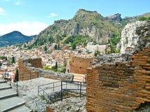 Taormina, grego Roman Theatre, Itália Fotografia de Stock Royalty Free