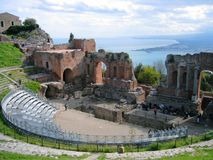 Taormina Grieche-Theater Stockfotos
