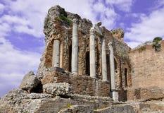 Taormina griechisches Amphitheater in Sizilien Italien Lizenzfreies Stockfoto