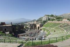 Taormina Griechisches Theater Lizenzfreie Stockfotos