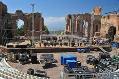 Taormina griego 2 del teatro Fotos de archivo