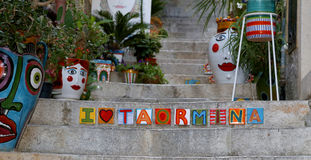 Taormina. I love Taormina tiles on steps Royalty Free Stock Image