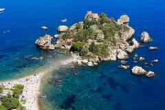 Taormina Isola Bella holme, Sicilien royaltyfria foton