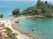 Taormina Isola Bella stranddetalj arkivbild