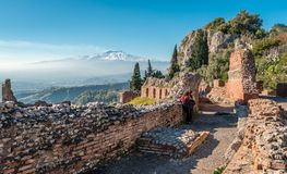 Mount Etna, from Teatro Greco, in Taormina. stock images