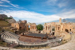 Taormina. ITALY - MAY 31, 2015: Workers mounting a stage in the Greek Theatre of , Sicily Royalty Free Stock Photo
