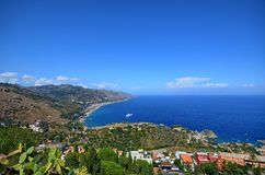 Taormina, Italy, Sicily August 26 2015. The splendid panorama from the Greek theater royalty free stock photos