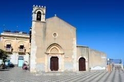 Taormina kyrka av St Augustine, Sicily Fotografering för Bildbyråer