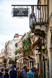 Taormina main street bustling with tourists, tourist shops and restaurants Stock Images