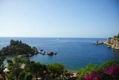 Taormina. Mediterranean sea at Isola Bella, Taormina, Sicily, Italy Royalty Free Stock Image