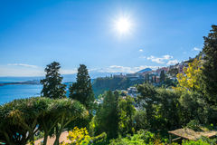 Taormina Ocean view with Etna in the Background. City of Taormina in Sizily with vulcano Etna in background royalty free stock photo