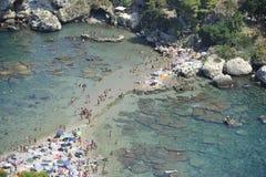 Taormina, Paradies der Touristen Stockbilder