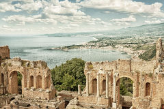 Taormina`s theater in Sicily HDR filtered Stock Photo