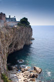 Taormina seascape with rocky cliffs. Sea of Sicily; Taormina seascape with steep rocky cliffs. coastline vertical Royalty Free Stock Photo