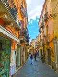 Taormina Sicilien, Italien - Maj 05, 2014: Sikt över gatan i Taormina, Sicilien, Italien, Europa Royaltyfri Foto