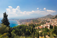 Taormina (Sicily). I was standing in the Greek and Roman Theathre of Taormina in Sicily as I took this picture with a view to Etna royalty free stock image