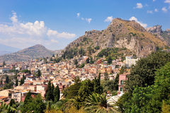 Taormina (Sicily). I was standing in the Greek and Roman Theathre of Taormina in Sicily as I took this picture with a view to Etna stock photo