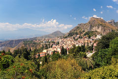 Taormina (Sicily). I was standing in the Greek and Roman Theathre of Taormina in Sicily as I took this picture with a view to Etna stock image