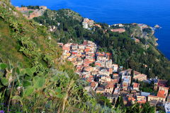 Taormina, Sicily. Overlooking the city of Taormina, a popular Mediterranean resort city in Sicily Royalty Free Stock Photos