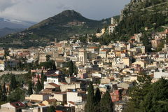 Taormina, Sicily. View of the small town Taormina of Sicily Stock Image