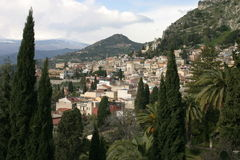 Taormina, Sicily. View of the small town Taormina of Sicily Stock Images