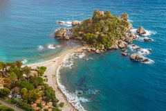 Taormina, Sicily - Beautiful landscape view of Isola Bella, the small Sicilian island of the mediterranean Royalty Free Stock Photo
