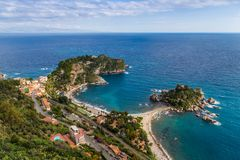 Taormina, Sicily - Beautiful landscape view of Mazzaró and Isola Bella Sicilian island of the mediterranean with beach Royalty Free Stock Photography