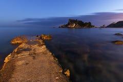 Isola Bella in Taormina Sicily - Italy at dusk. Stock Photos