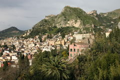 Taormina, Sicily (Italy). View of the small town Taormina of Sicily stock image