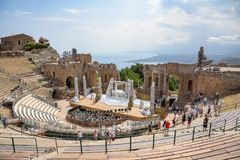Ruins of the ancient Greek theater in Taormina Stock Photography