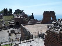 Ruins of ancient greek and roman theatre in Taormina Stock Photos