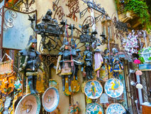 Taormina, Sicily, Italy - May 05, 2014: Souvenir shop in town. Stock Photos