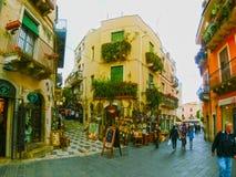 Taormina, Sicily, Italy - May 05, 2014: View over the main street in Taormina, Sicily, Italy, Europe stock photo