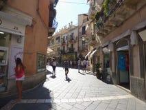 Taormina, Sicily, Italy. SEPT 6, 2016: Taormina is popular tourist city stock image