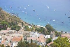 Taormina Sicily Italy. View of Taormina beach, Sicily Italy Stock Image
