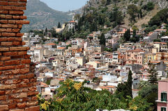 Taormina, Sicily With Mountain In Background. Elevated view of Taormina, Sicily with mountain in background royalty free stock photography