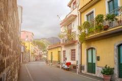 Taormina, Sicily - Typical italian romantic street of Taormina Royalty Free Stock Photography