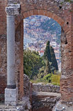 Taormina Stadt in Sizilien Italien Stockfotos