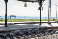 Taormina station. Railway station in the town of Taormina in Sicily - one of the most beautiful railway stations in Italy, beautiful sea view stock photo