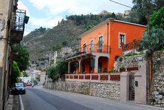 Taormina street in Sicily Stock Images