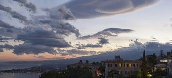 Taormina sunset pan Stock Photo