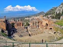 Taormina teater royaltyfri foto