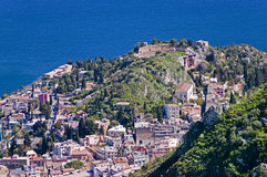 Taormina town in Sicily Italy. Town of Taormina in Sicily Italy in spring view from high point with greek theater royalty free stock image