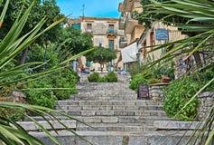 Taormina trappuppgång Fotografering för Bildbyråer