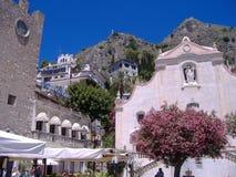 Taormina Twin peaks royalty free stock photography