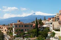 Taormina und Ätna. Stockbild