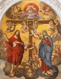 TAORMINA WŁOCHY, KWIECIEŃ, - 9, 2018: Symboliczny obraz Jezus i maryja dziewica z bogiem i corss twórca obraz royalty free