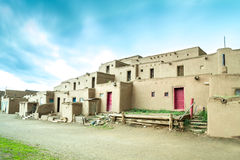 Taos Pueblo - adobe settlemenets of native Americans. Stock Photos